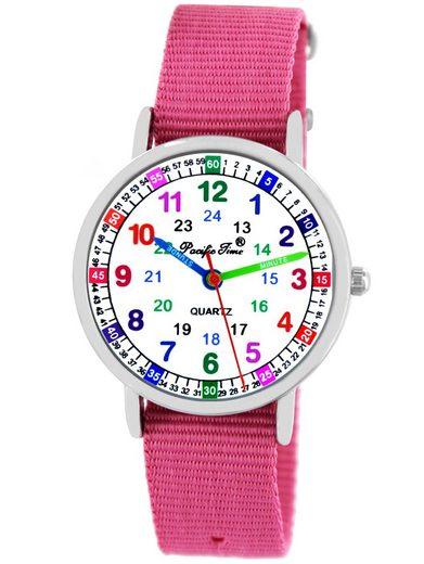 Pacific Time Quarzuhr »Mädchen Armbanduhr Lernuhr Wechselarmband Textil«