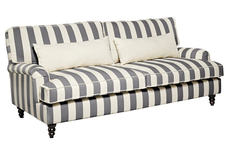 Heine Home Sofa 3er Sitz Auf Wellenunterfederung Polstermobel In Dekorativer Form Mit Streifenbezug Online Kaufen Otto