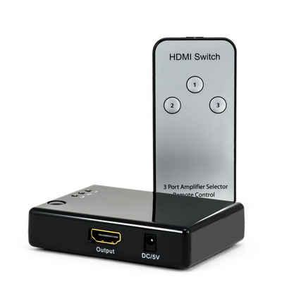 CSL Audio / Video Matrix-Switch, 3-Port Full HD HDMI Switch mit Fernbedienung & Verstärker 3x HDMI Eingänge / 1080p / 3D