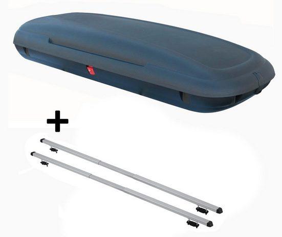 VDP Fahrradträger, Dachbox VDPCA480 480Ltr carbonlook + Dachträger RAPID kompatibel mit Kia Clarus (5Türer) 95-01