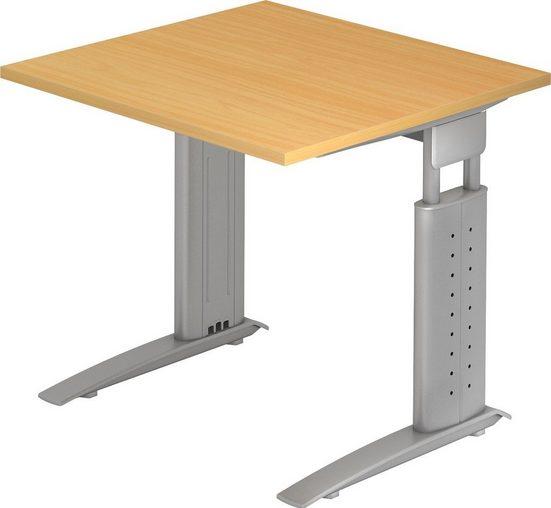 bümö Schreibtisch »OM-US08-S«, höhenverstellbar - Quadrat: 80x80 cm - Gestell: Silber, Dekor: Buche