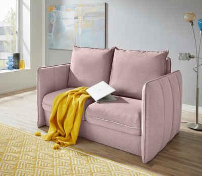 INOSIGN Polstergarnitur »Tiny Mike«, (3-tlg), Verwandlungsofa: 2 Hocker im Sofa integriert, können separat gestellt werden, mit Keder und feiner Steppung, Sitzbreite 120 cm