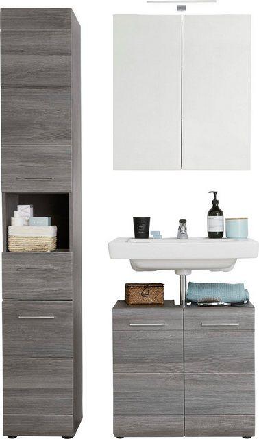 Badezimmer Sets - trendteam Badmöbel Set »Skin«, (Set, 3 St), Spiegelschrank mit LED Beleuchtung, Hochschrank und Waschbeckenunterschrank, Fronten in Hochglanz oder Holzoptik  - Onlineshop OTTO