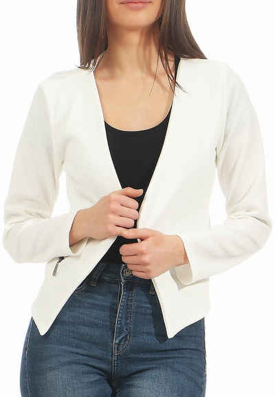 malito more than fashion Jackenblazer »malito Damen Blazer ohne Kragen, Sakko im Basic« mit Reißverschluss
