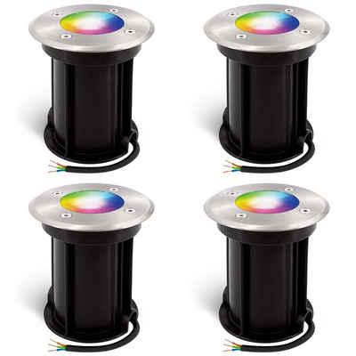 linovum Gartenstrahler »4er Set LED Bodenstrahler BORU in rund & gebürstet Smart GU10 dimmbar RGB & Weißtöne 5W«