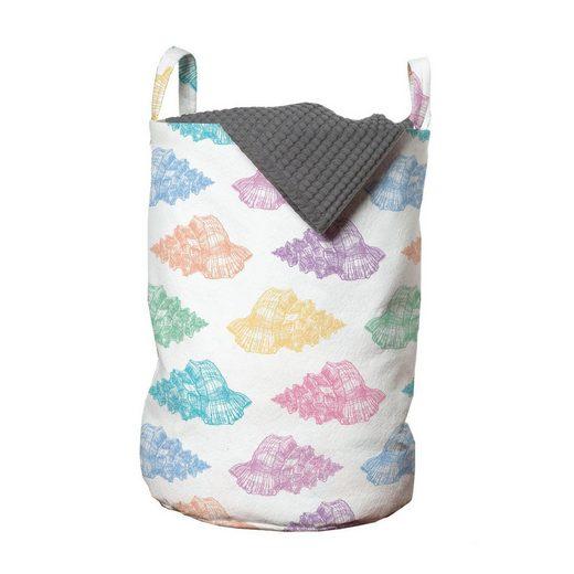 Abakuhaus Wäschesack »Wäschekorb mit Griffen Kordelzugverschluss für Waschsalons«, Nautisch Hand gezeichnet Seashells Motiv