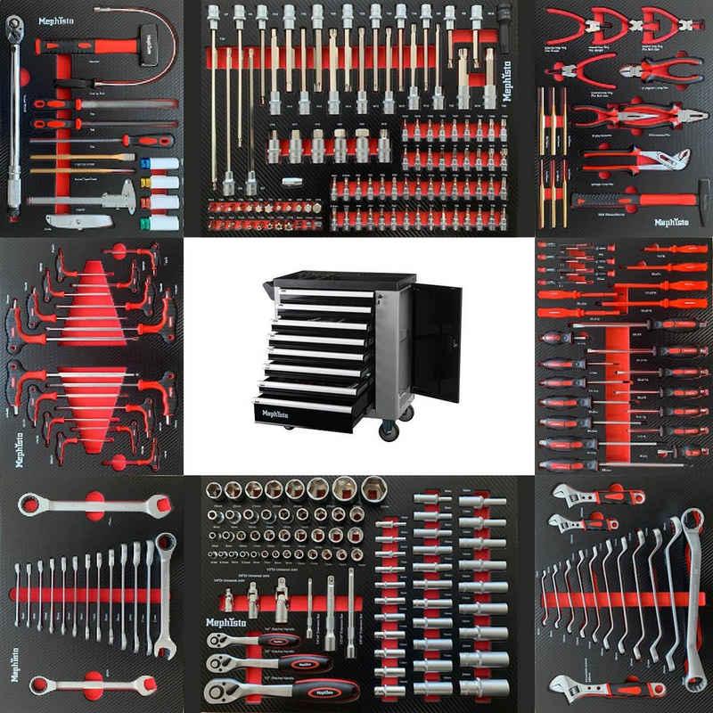 Mephisto-Tools Werkstattwagen, (fertig montiert und bestückt), 8 abschließbare Schubladen, je Schublade belastbar bis je 35 kg, 2 Schlüssel inkl., kugelgelagerte Rollen mit Gummierter Beschichtung, Werkzeug ist aus hochwertigem Chrom Vanadium Stahl, 1 seitliches Fach mit Ablage und separat abschließbarer Tür