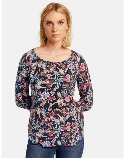 Taifun Klassische Bluse »3/4 Arm Bluse mit Blumen-Print« leger mit leichter Taillierung
