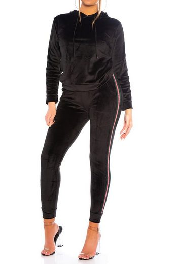 Egomaxx Trainingsanzug »3540« (2-tlg), Damen Nicki Trainingsanzug Velours Stretch Bund Softer Sportanzug