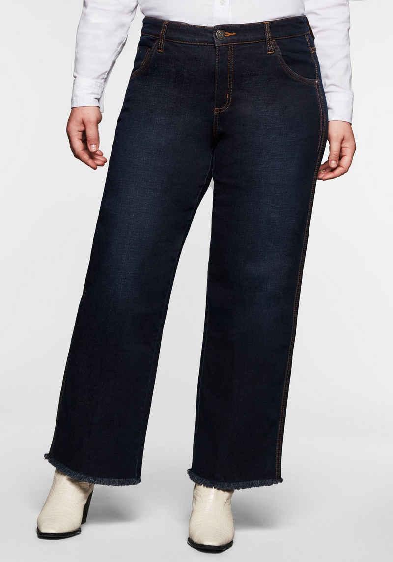 Sheego Stretch-Jeans »Die Weite« mit Fransensaum