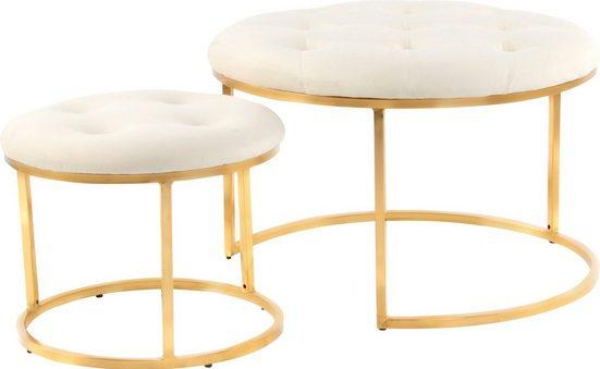 Kayoom Sitzgruppe »Becky 825«, (Set, 2-tlg., 2er-Set Design-Hocker), können platzsparend ineinander geschoben werden