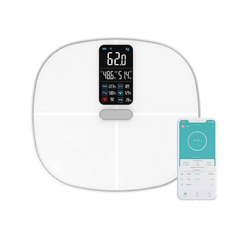 Zedelmaier Körper-Analyse-Waage »Körperanalysewaagen,Bluetooth Smart Waage, Digitale Personenwaage mit App, leitfähigem ITO-Glas-Plattform, Max 180kgs D=50g«, Körper-analysewaagen fuer Fitness-Einsteiger, mit Bluetooth, digitale glaswaage mit BMI-Berechnung