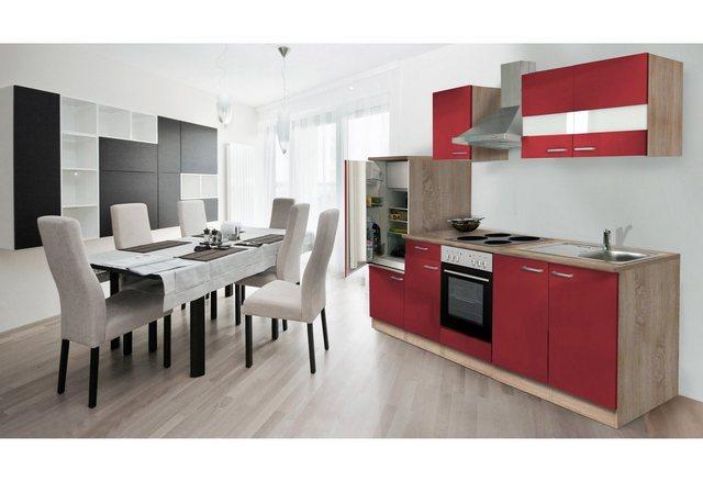Respekta Küchenzeile 270 cm Eiche Sägerau Rot, mit Geräten, Edelstahlherdplatten