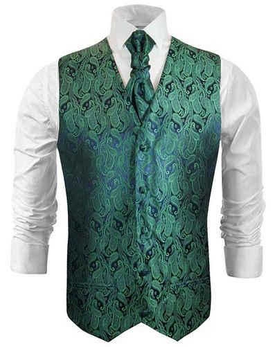 Paul Malone Anzugweste »Herren Hochzeitsweste mit Plastron Set 2tlg - Paisley Bräutigam Hochzeit Anzug Weste« (Set, 2-tlg., mit Weste und Plastron) grün V14, Gr. 48 (XS)