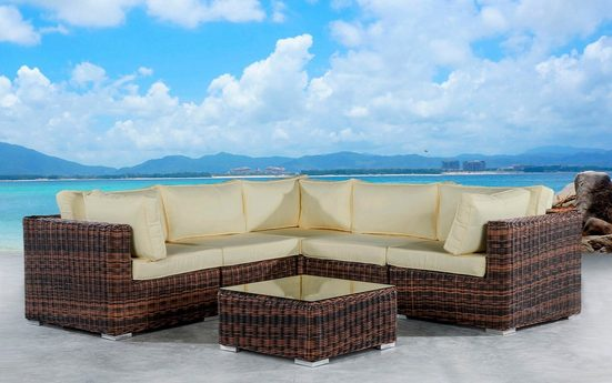 Baidani Loungeset »Vacation«, 18-tlg., Ecklounge, Tisch 70x70x30 cm, Polyrattan