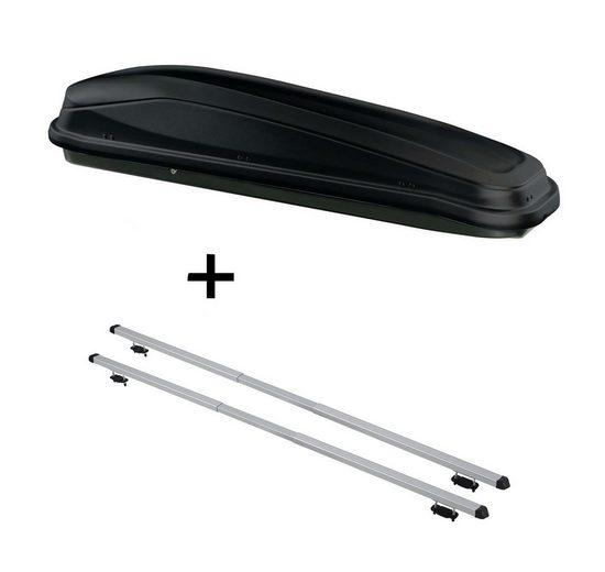 VDP Fahrradträger, Dachbox JUEASY300 300 Liter schwarz + Dachträger RAPID kompatibel mit Volkswagen Cross Up! (5Türer) ab 13