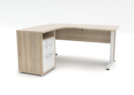 ebuy24 Schreibtisch »Prisme Schreibtisch 3 Schubladen. Eiche Dekor und«