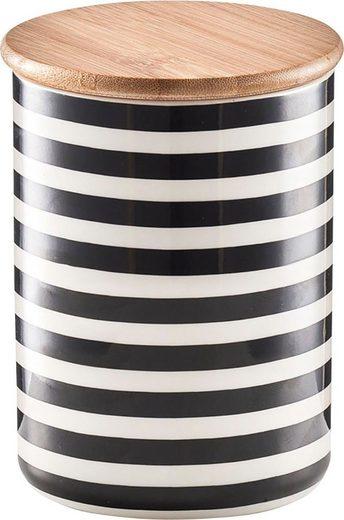 Zeller Present Vorratsdose »Stripes«, Keramik, Bambus, (Set, 2-tlg)