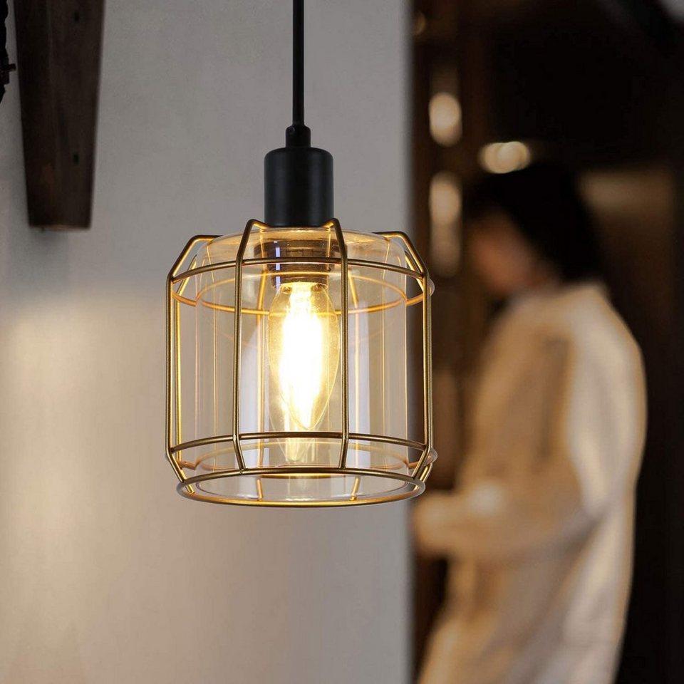 ZMH Pendelleuchte »gold Industrial E14 Esstischlampe aus Glas Hängeleuchte für Küchen Wohnzimmer ...