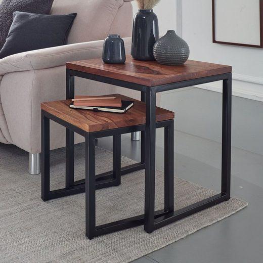 FINEBUY Satztisch »FB58467«, Sheesham Massivholz / Metall Design Beistelltisch 2er Set Couchtisch Set aus zwei Tischen Kleiner Wohnzimmer Ablagetisch Modern