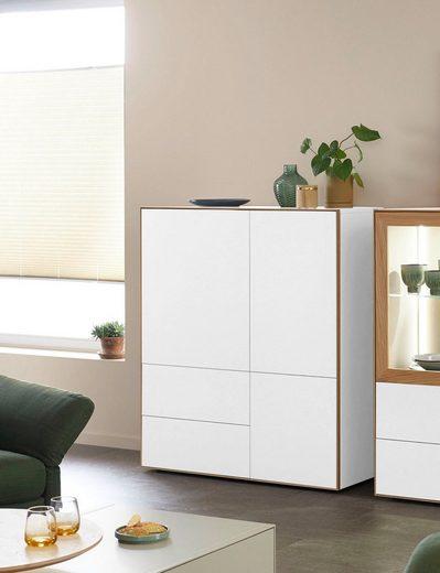 SCHÖNER WOHNEN-Kollektion Highboard »DIMARO«, mit 2 Schubladen und 3 Türen, Lack-Asteiche Ausführung
