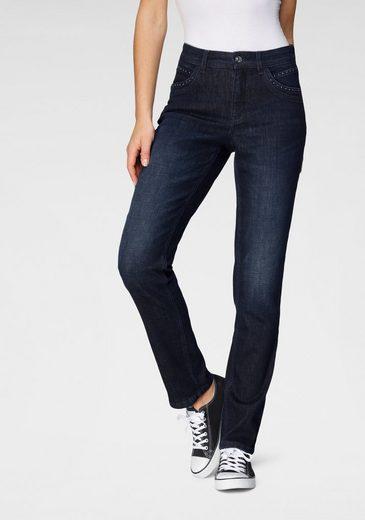 MAC Gerade Jeans »Melanie Glam« Besonderer Glitzer-Nieten Besatz