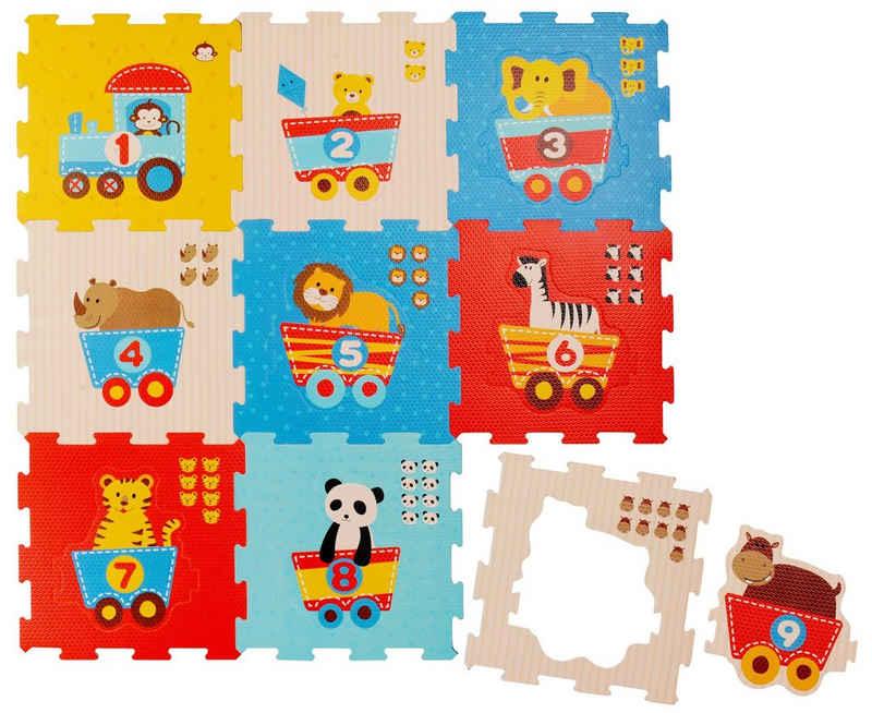BIECO Steckpuzzle »Bieco Puzzlematte, 19 tlg. Spielmatte Baby XXL Puzzle Kinder Krabbeldecke Baby Spielmatte Kinder Turnmatte Kinder Kinder Teppiche Krabbelmatte Baby Buchstaben Lernen Spielteppich Junge«, Puzzleteile