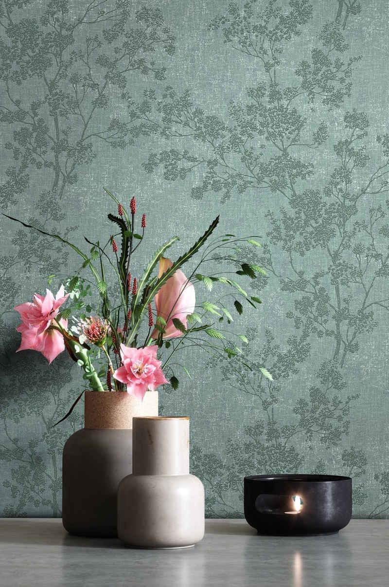 Newroom Vliestapete, Grün Tapete Blumen Floral - Blumentapete Mustertapete Weiß Dunkelgrün Blätter Modern für Schlafzimmer Wohnzimmer Küche