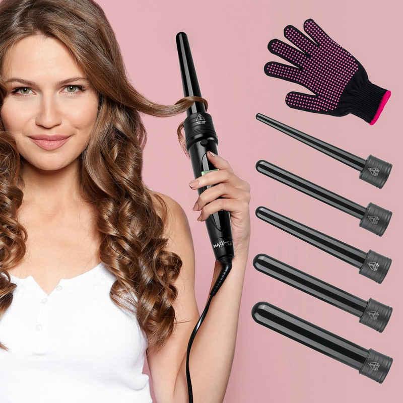 MAXXMEE Lockenstyler, Hair Curler Profi mit 5 Aufsätzen + Handschuh