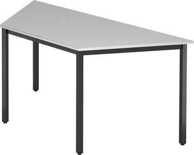 bümö Konferenztisch »OM-DQTR-D«, Meetingtisch & Besprechungstisch System - Trapez: 160 x 69 cm - Gestell: Schwarz, Dekor: Grau