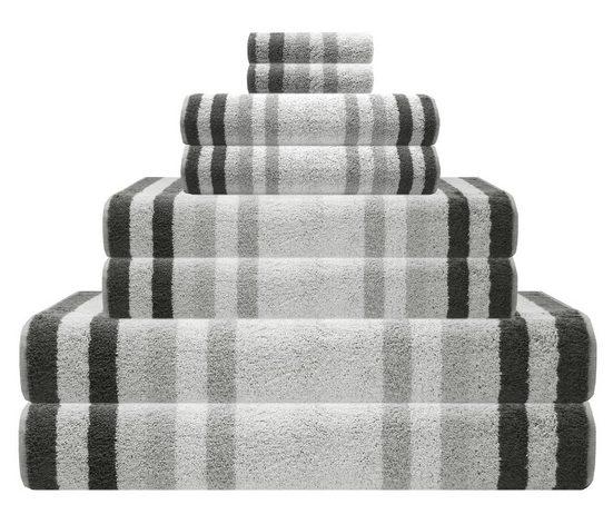 Lashuma Handtuch Set »Pure« (Set, 8-tlg), 8 teiliges Handtuch Sparset Gestreift, Frotteetuch Größen: 2x 15x21 cm - 2x 30x50 cm - 2x 50x100 cm - 2x 70x140 cm