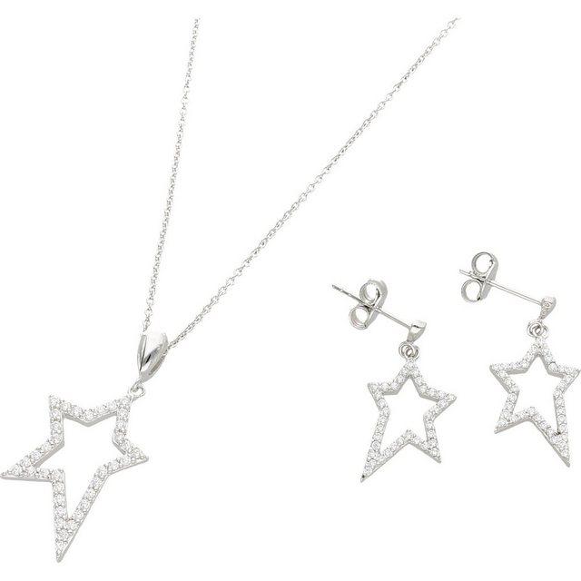 Schmucksets - Smart Jewel Schmuckset »Stern mit Zirkonia Steinen, Silber 925« ›  - Onlineshop OTTO