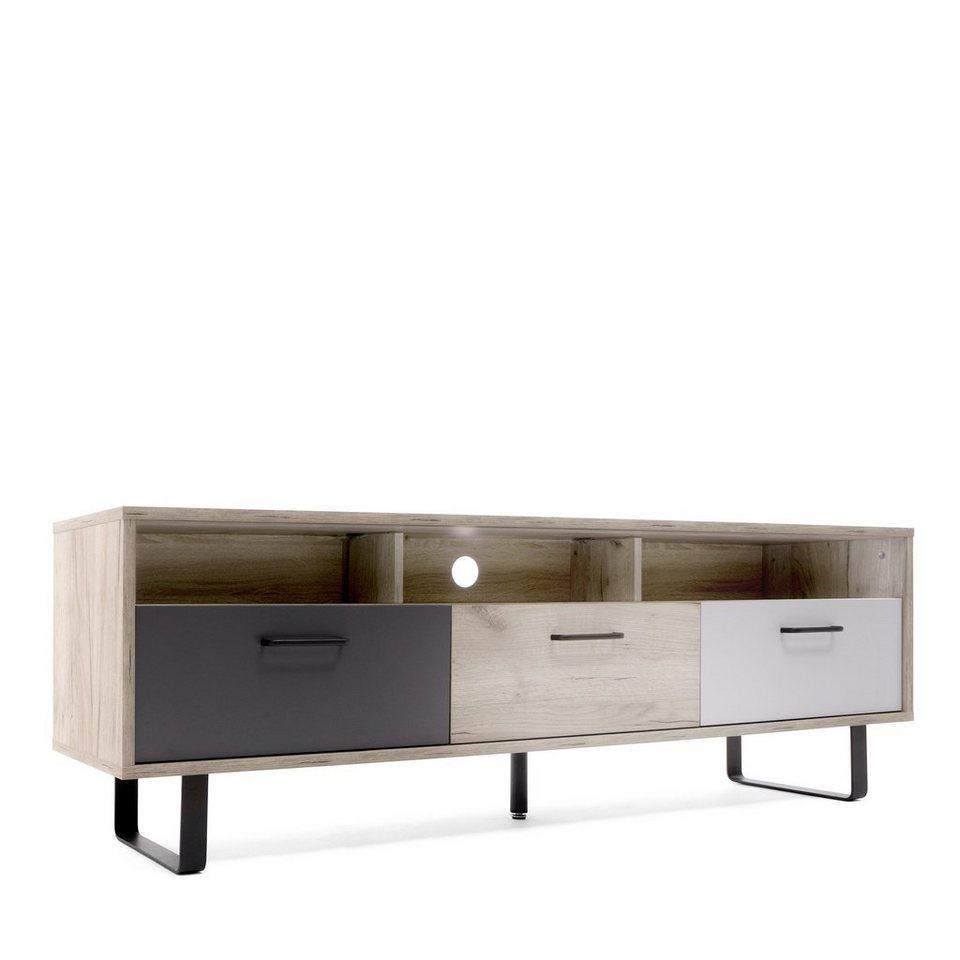 Newroom Lowboard Tv Board Eiche Grau Weiss Optik Modern