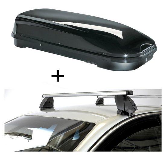 VDP Fahrradträger, Dachbox VDPFL580 580 Liter schwarz glänzend + Dachträger K1 PRO Aluminium kompatibel mit Nissan Leaf (5Türer) 16-18