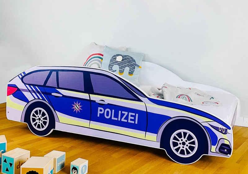 Kids Collective Autobett »Kinderbett Polizei in 70x140 und 80x160 cm«, Spielbett Auto Bett, in zwei Größen: 140x70 und 160x80, bis 10 Jahre, optional mit Matratze