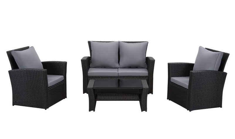 MeXo Gartenmöbelset, (Tisch 87x50x35cm), Rattan Lounge Set 4 Stück für 3-4 Personen mit 2er Sofa Sessel Terrassenmöbel Balkonset Outdoor