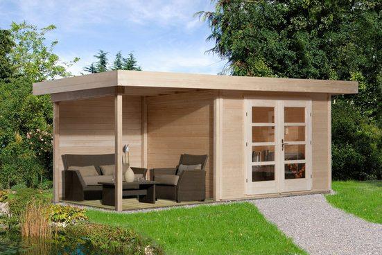 WEKA Set: Gartenhaus »Chill-Out Gr.1«, BxT: 585x284 cm, inkl. Anbaudach und Fußboden