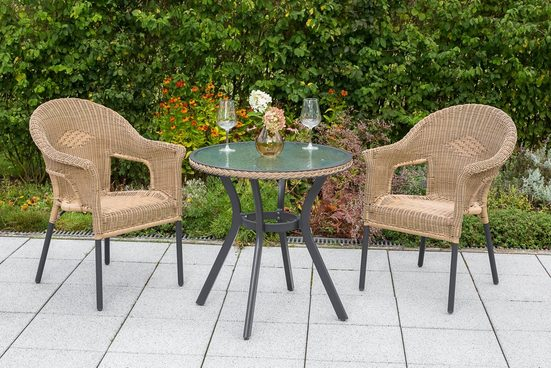 MERXX Gartenmöbelset »Ravenna«, 3tlg., 2 Sessel, Tisch, stapelbar, Polyrattan, natur
