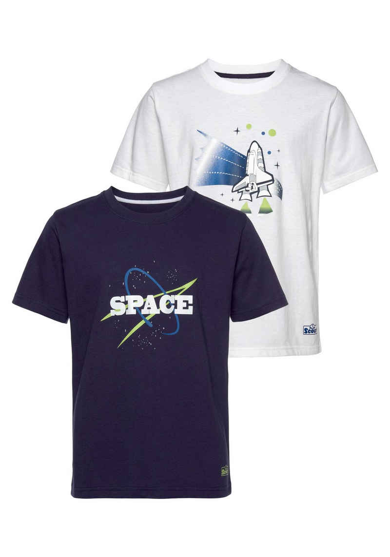 Scout T-Shirt »SPACE« (Packung, 2er-Pack) aus Bio-Baumwolle