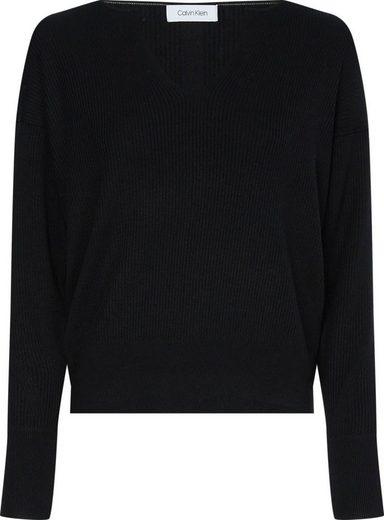 Calvin Klein V-Ausschnitt-Pullover »LOGO OPEN NECK SWEATER« in Rippoptik