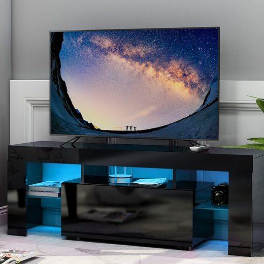 Gotui Unterschrank TV Board Lowboard mit Grifflose Öffnen, Unterschrank, Sideboard Mediaboard, Fernsehschrank, Mediaboard