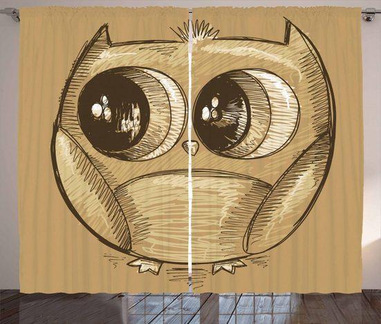 Gardine »Schlafzimmer Kräuselband Vorhang mit Schlaufen und Haken«, Abakuhaus, Gekritzel Owl Big Eyes
