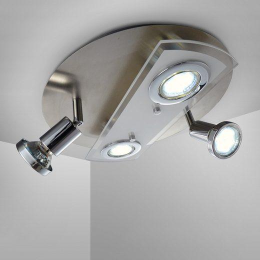 B.K.Licht LED Deckenspot »Orion«, LED Deckenleuchte rund Metall Glas Lampe Wohnzimmer Strahler inkl. 3W 350lm GU10