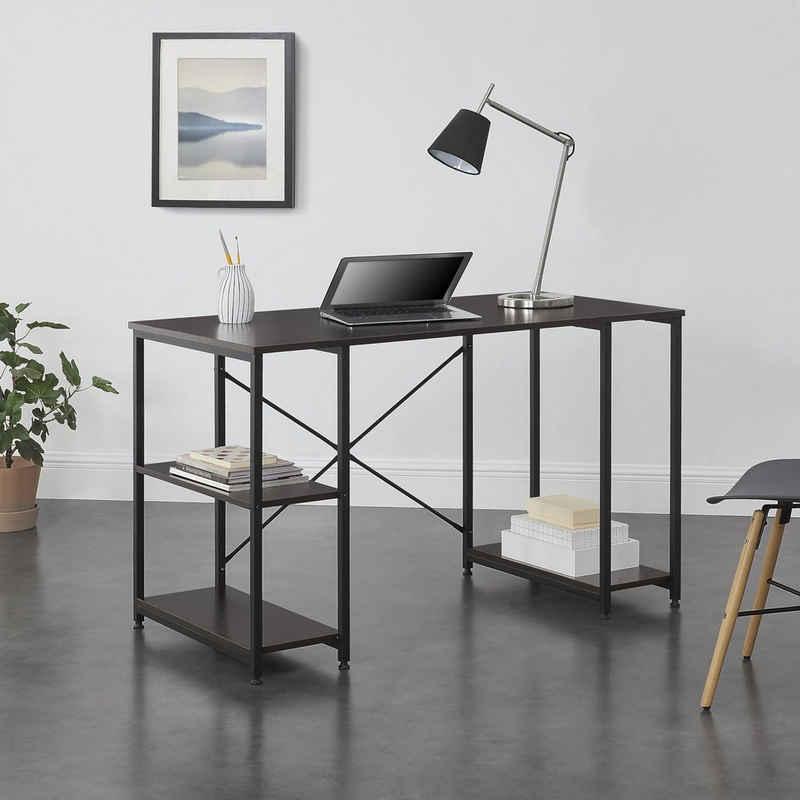 en.casa Regal-Schreibtisch, »Aarhus« Bürotisch PC Tisch mit Ablage 75x120x60cm Schwarz/Walnuss-Optik