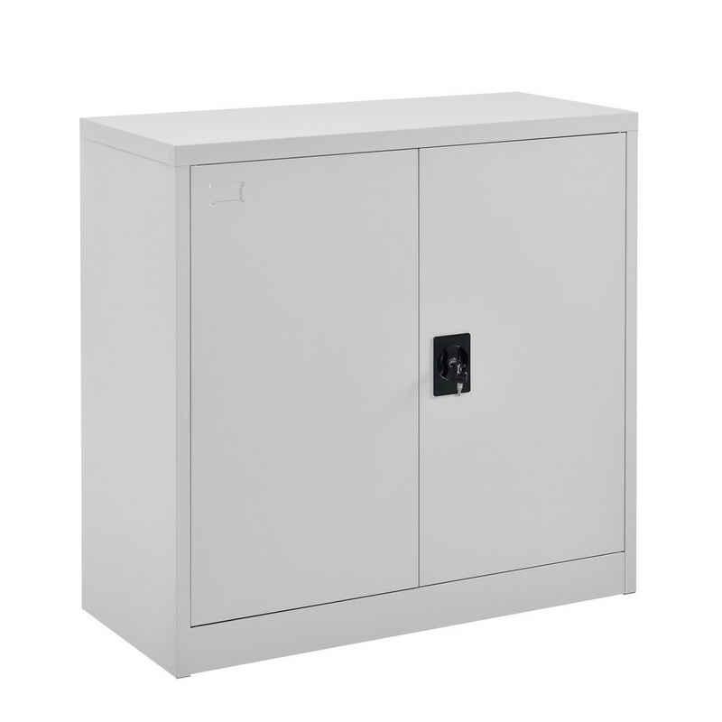 en.casa Aktenschrank »Terni« Büroschrank Metallschrank mit 2 Flügeltüren und 3 Ablagefächern grau