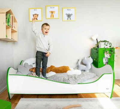 Alcube Kinderbett »SWING I Liegefläche 70x140 cm«, inklusive Matratze Rausfallschutz und Lattenrost aus schönem massivem Kiefernholz und MDF, in verschiedenen Farbvarianten erhältlich
