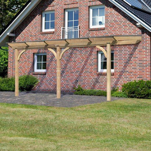 Karibu Terrassendach »Premium Gr. B«, 512 cm Breite, verschiedene Größen, geschwungene Kopfbänder
