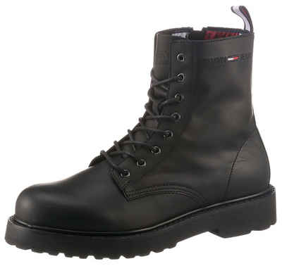 Tommy Jeans »LEATHER LACE UP BOOT« Schnürboots mit Anziehlasche in Tommy Farben