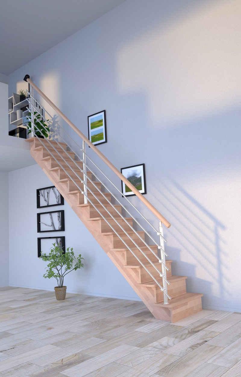 Starwood Systemtreppe »Massivholz Lindos, Design-Geländer Edelstahl«, für Geschosshöhen bis 300 cm, Stufen geschlossen, Durchgehende Wangenteile