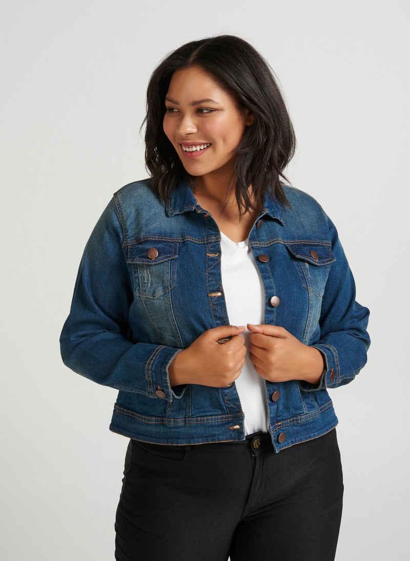Zizzi Jeansjacke Große Größen Damen Denim Jacke mit Knöpfen und Kragen